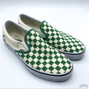 Vans | EUC Green Checkerboard Slip Ons